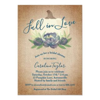 Rustic Fall in Love Blue Floral Bridal Shower Invitations
