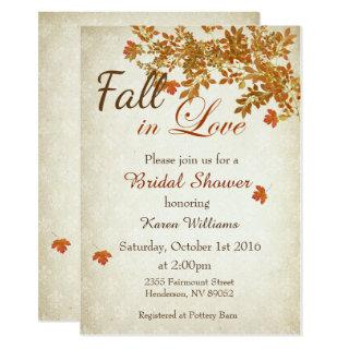 Rustic Fall in Love Bridal Shower Invitations