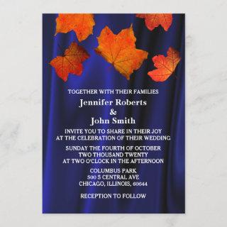 Rustic Fall Leaves Burnt Orange Blue Satin Wedding Invitation