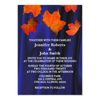Rustic Fall Leaves Burnt Orange Blue Satin Wedding Invitations
