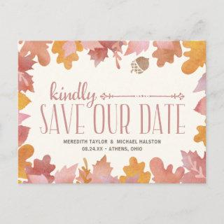 Rustic Fall Leaves Colorful Save the Date Announcement Postcard