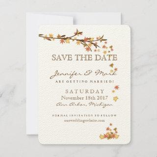 Rustic Fall Leaves Wedding Save the Date