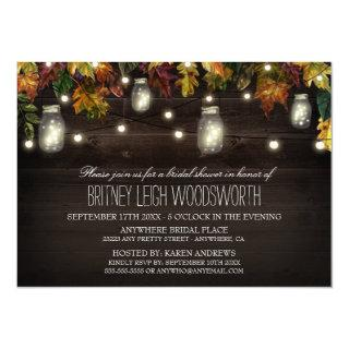 Rustic Fall Mason Jar Bridal Shower Invitations