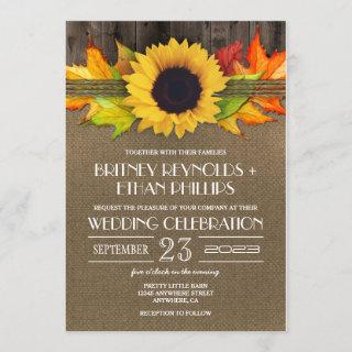 Rustic Fall Sunflower + Burlap Wedding Invitations