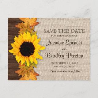 Rustic Fall Sunflower Wedding Save The Date Announcement Postcard