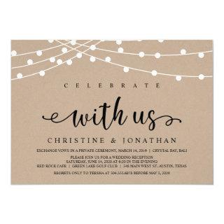Rustic Farm String Lights, Kraft Wedding Elopement Invitation