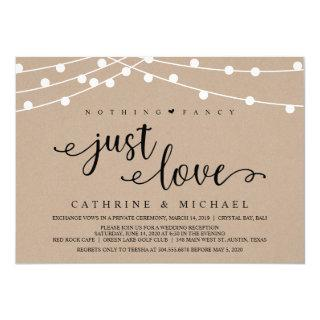 Rustic Farm String Lights, Kraft Wedding Elopement Invitations
