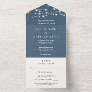 Rustic Farmhouse String Lights Wedding All In One  All In One Invitations