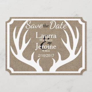 Rustic Farmhouse White Deer Antlers Save the Date