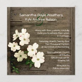 Rustic Fence & Dogwood Blooms Wedding Invitations