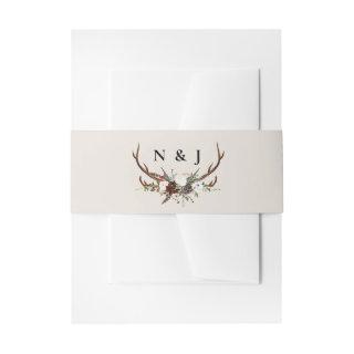 Rustic floral and antlers initials wedding invitation belly band