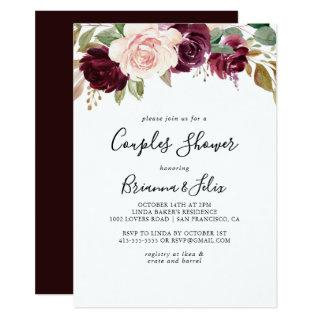 Rustic Floral and Botanical Foliage Couples Shower Invitation