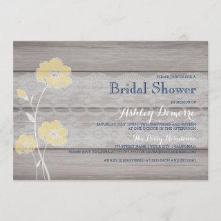 Rustic Floral and Lace Bridal Shower Invitations