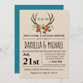 Rustic Floral Antlers BOHO Couples Shower Wedding Invitation