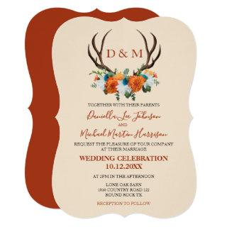 Rustic Floral Antlers BOHO Wedding Invitations