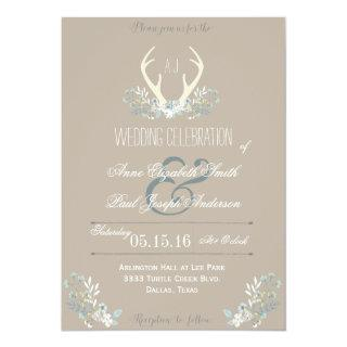 Rustic Floral Antlers wedding invitation - Taupe