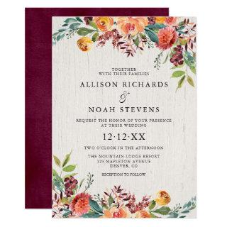 Rustic floral autumn fall burgundy blush wedding Invitations