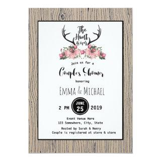 Rustic Floral Barnwood Hunt is Over Couple Shower Invitation