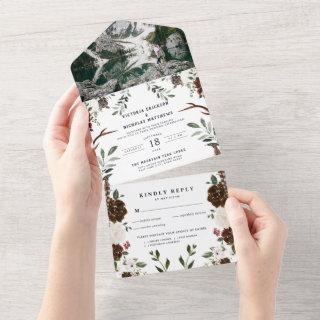 Rustic Floral Boho | All in One Wedding Invite