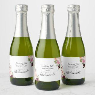Rustic Floral Botanical Bridesmaid Proposal Champagne Label