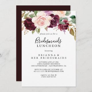Rustic Floral Bridesmaids Luncheon Shower Invitations