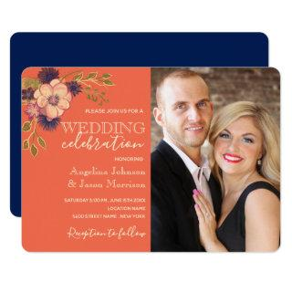 Rustic Floral Coral and Navy Blue Wedding Photo Invitations