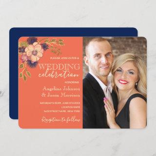 Rustic Floral Coral and Navy Blue Wedding Photo