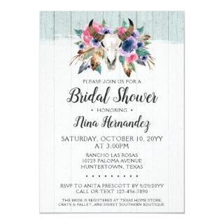 Rustic Floral Cow Skull Bridal Shower Invitation