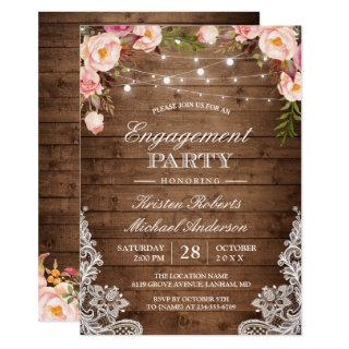 Rustic Floral Lace String Lights Engagement Party Invitations