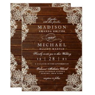 Rustic Floral Lace Wood Modern Wedding Invitations