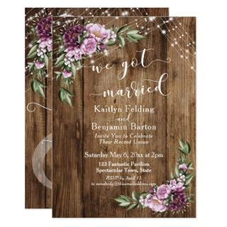 Rustic Floral Lights We Got Married Reception Only Invitations