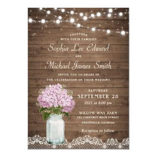 Rustic Floral Lilac Hydrangea Mason Jar Lace Light Invitations