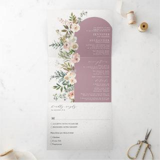 Rustic Floral Mauve All in One Wedding Tri-Fold
