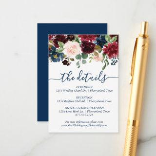 Rustic Floral | Navy Blue Burgundy Red Bouquet Enclosure Card