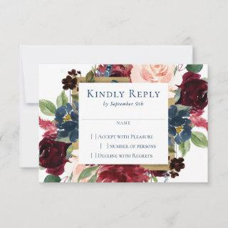 Rustic Floral | Navy Blue Burgundy Red Gold Frame RSVP Card