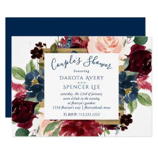 Rustic Floral | Navy Blue Red Pink Couple Shower Invitation