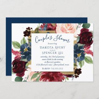 Rustic Floral | Navy Blue Red Pink Couple Shower Invitations