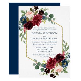 Rustic Floral | Navy Burgundy Gold Geometric Frame Invitations