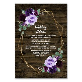 Rustic Floral Purple Gold Wedding Enclosure Cards