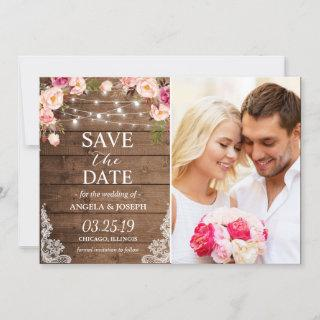 Rustic Floral String Lights Photo Save the Date
