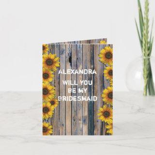 Rustic floral sunflower will you be my bridesmaid Invitations