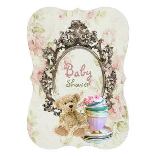 rustic floral teddy bear baby shower invitations