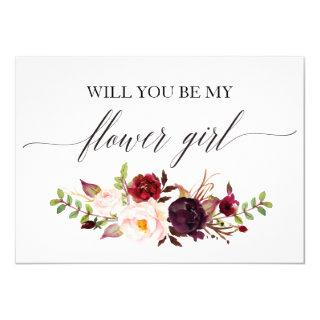 Rustic Floral Will you be my flower girl Invitation