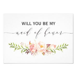 Rustic Floral Will you be my maid of honor 2sided1 Invitation