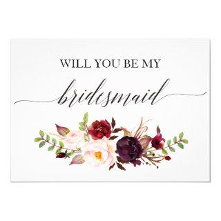Rustic Floral Will you be my matron of honor-2 Invitations