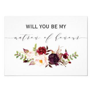 Rustic Floral Will you be my matron of honor Invitation