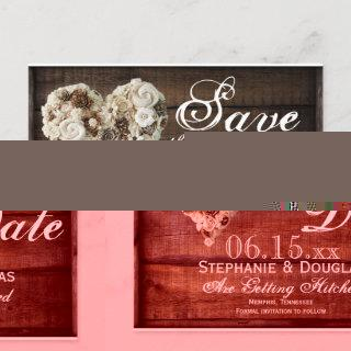Rustic Flower Wood Heart Wedding Save the Date Announcement Postcard