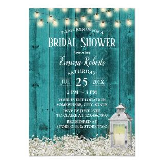Rustic Flowers & Lantern Teal Barn Bridal Shower Invitation