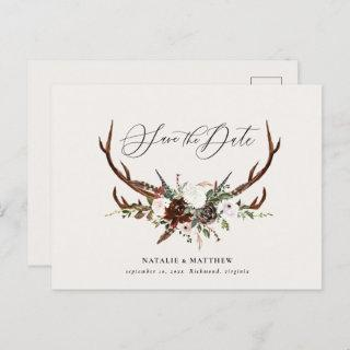 Rustic foliage and antler save the date announcement postcard