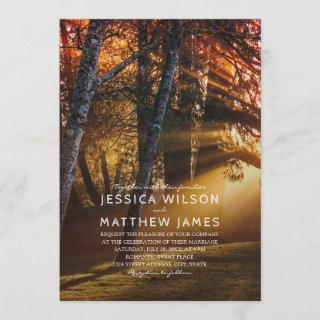 Rustic Forest Country Tree Sunset Outdoor Wedding